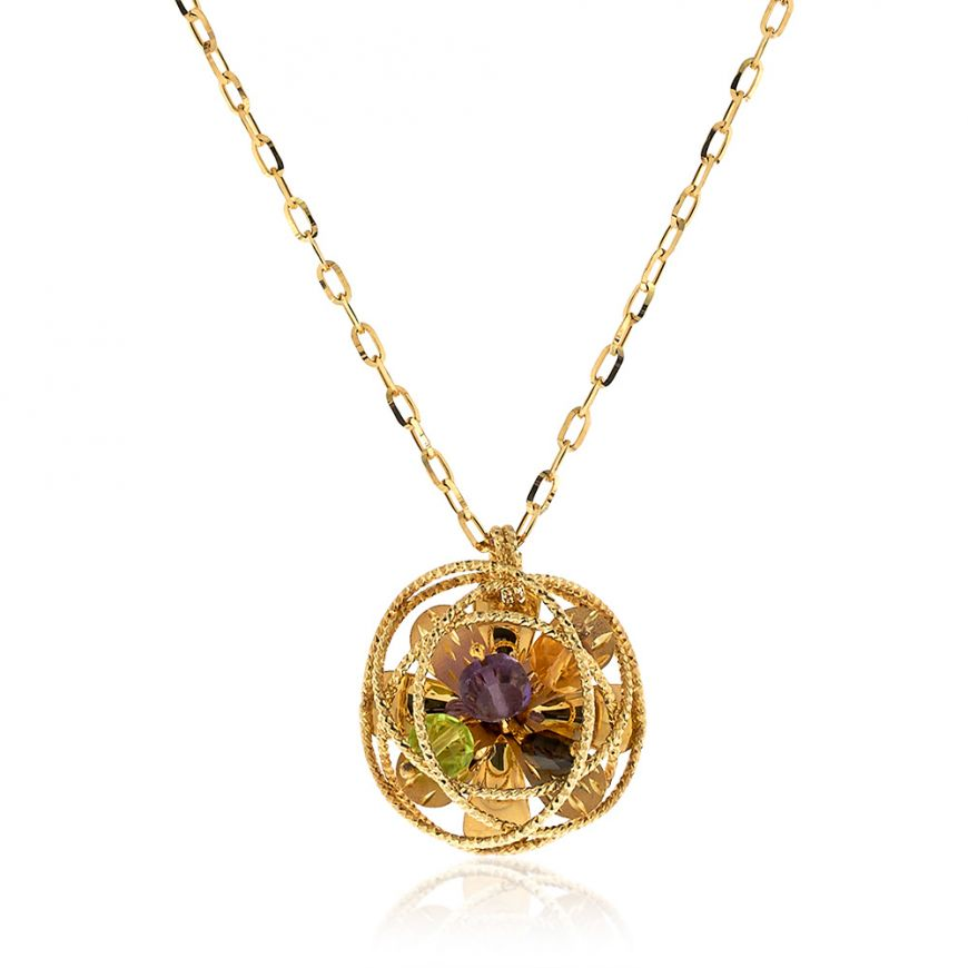 "Yellow gold ""Coaro"" necklace with semi-precious stones 