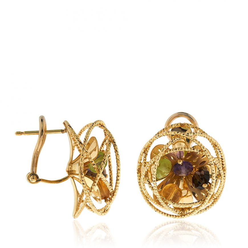 "Yellow gold ""Coaro"" earrings with semi-precious stones 