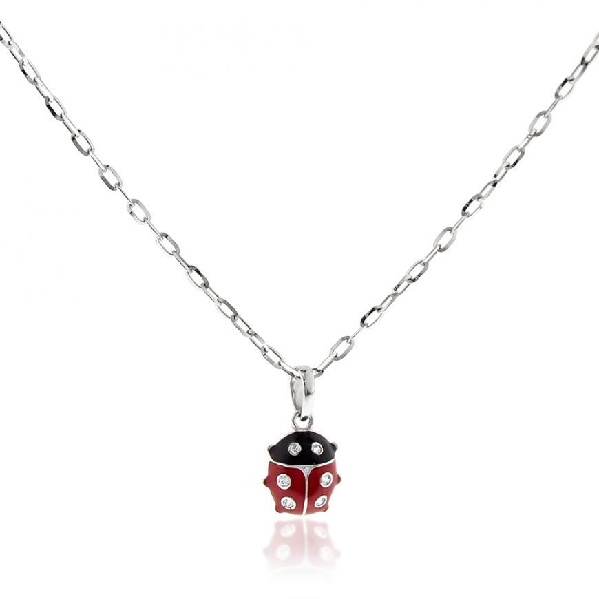 White gold necklace with ladybug pendant | Gioiello Italiano