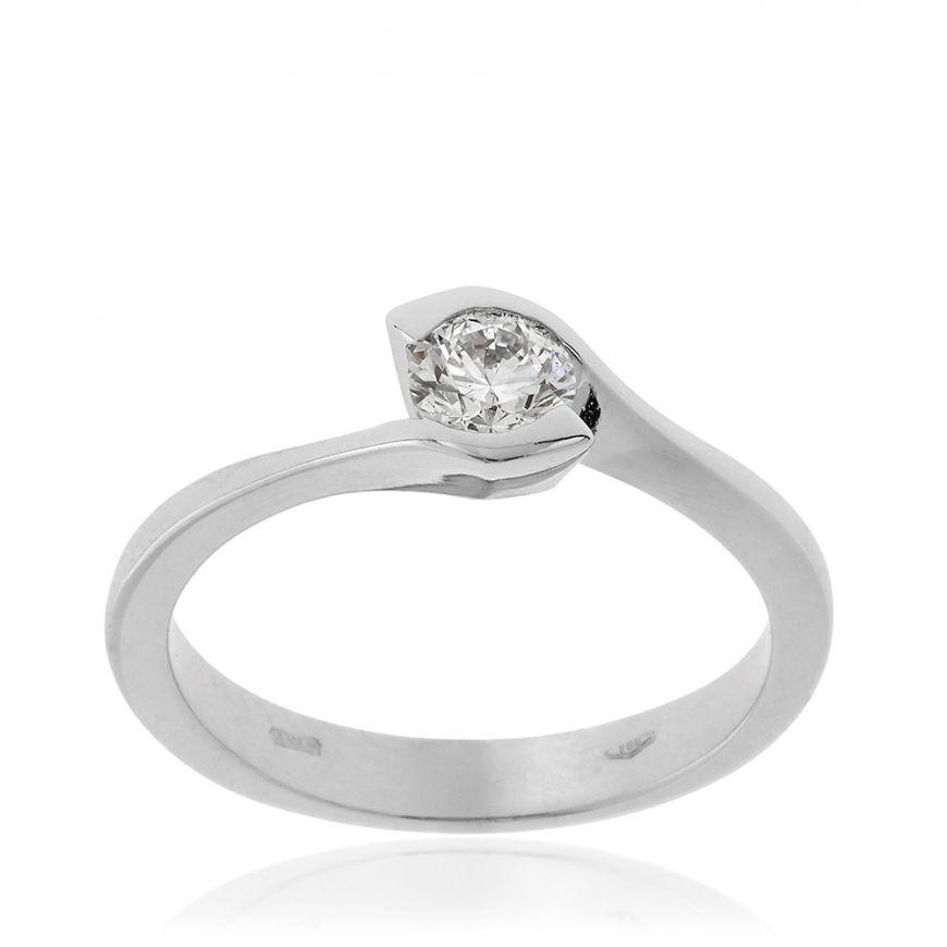 Solitario in oro bianco e diamante 0.37ct | Gioiello Italiano
