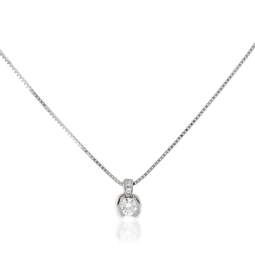 18kt white gold necklace with 0.13ct diamonds | Gioiello Italiano