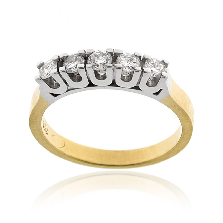 18kt yellow and white gold ring with 5 diamonds 0.35ct | Gioiello Italiano