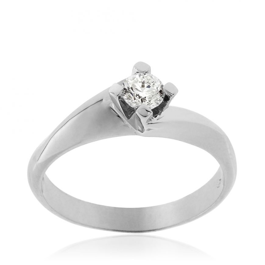 18kt white gold solitaire ring with 0.28ct diamond | Gioiello Italiano