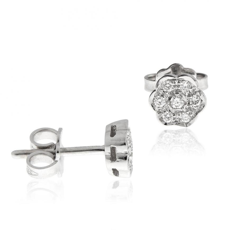 18kt white gold earrings with 0.04ct diamonds | Gioiello Italiano