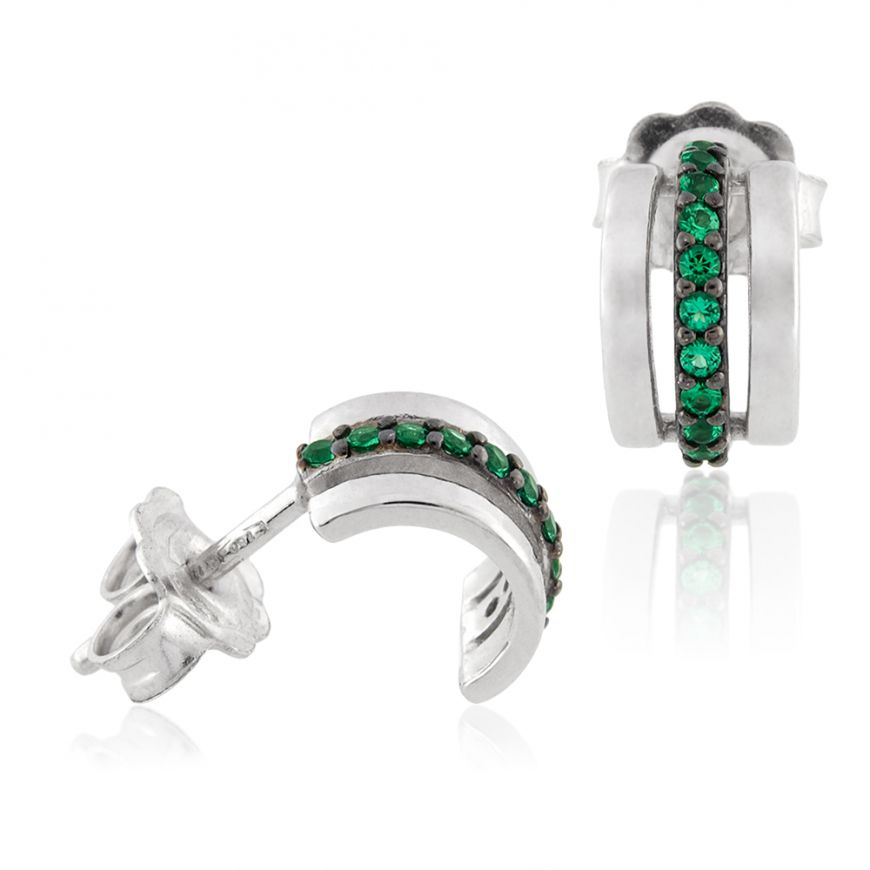18kt white gold earrings with green cubic-zirconia | Gioiello Italiano