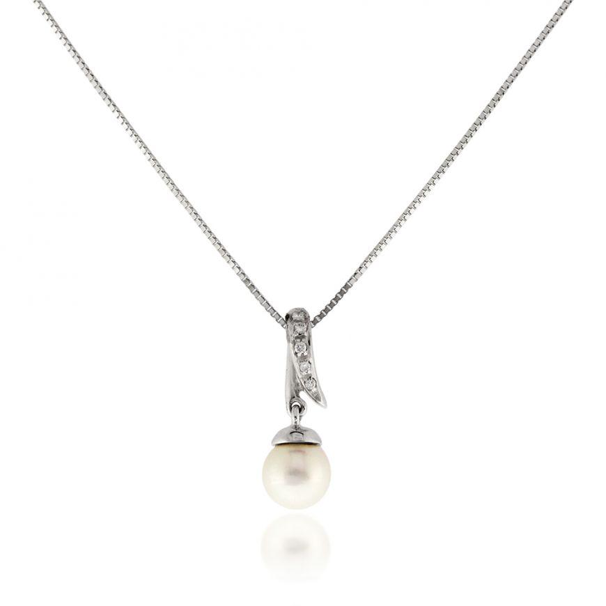 18kt white gold necklace with pearl and 0.02ct diamonds | Gioiello Italiano