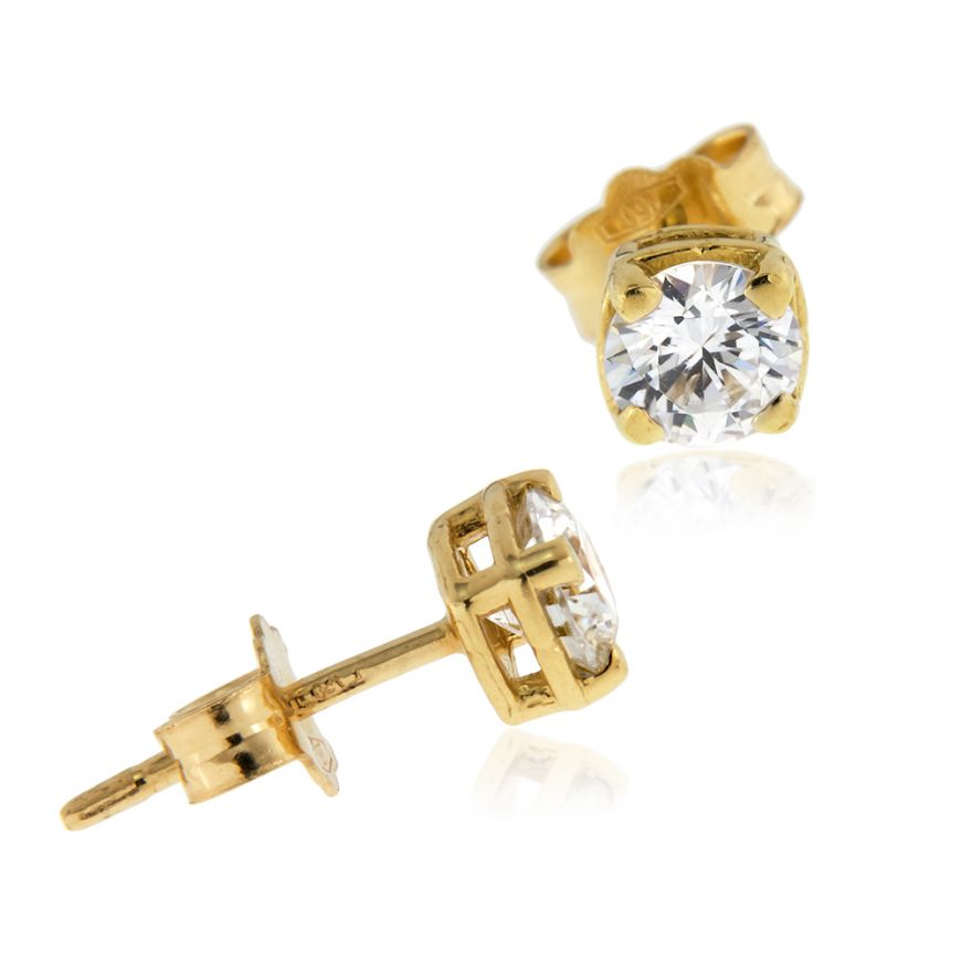 18kt yellow gold earrings with zircons | Gioiello Italiano