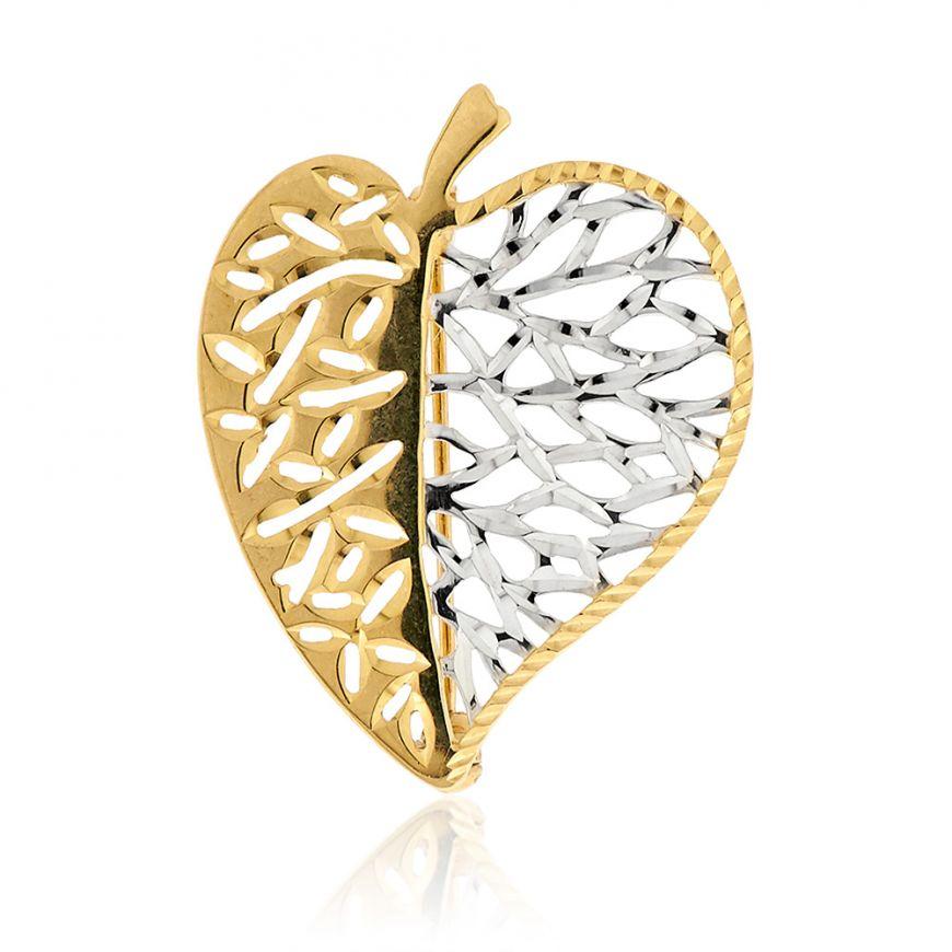 Safety pin white and yellow gold 14kt | Gioiello Italiano