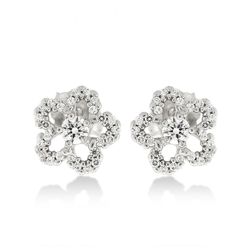 Silver flower earrings with natural stones   Gioiello Italiano