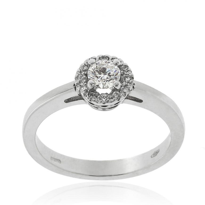 White gold engagement ring with diamonds | Gioiello Italiano