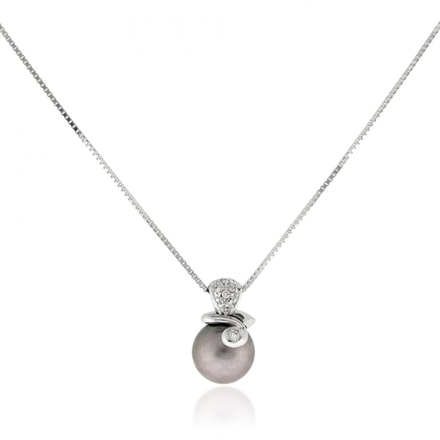 18kt white gold necklace with grey pearl and diamonds | Gioiello Italiano