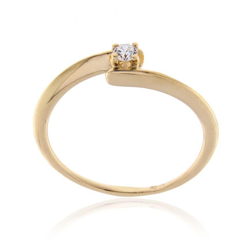 14kt yellow gold solitaire ring with zircon | Gioiello Italiano