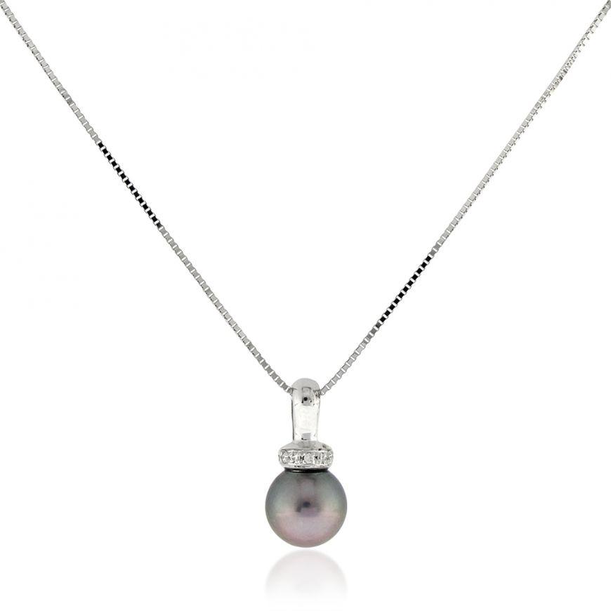 Collana in oro bianco 18kt con diamanti e perla grigia | Gioiello Italiano