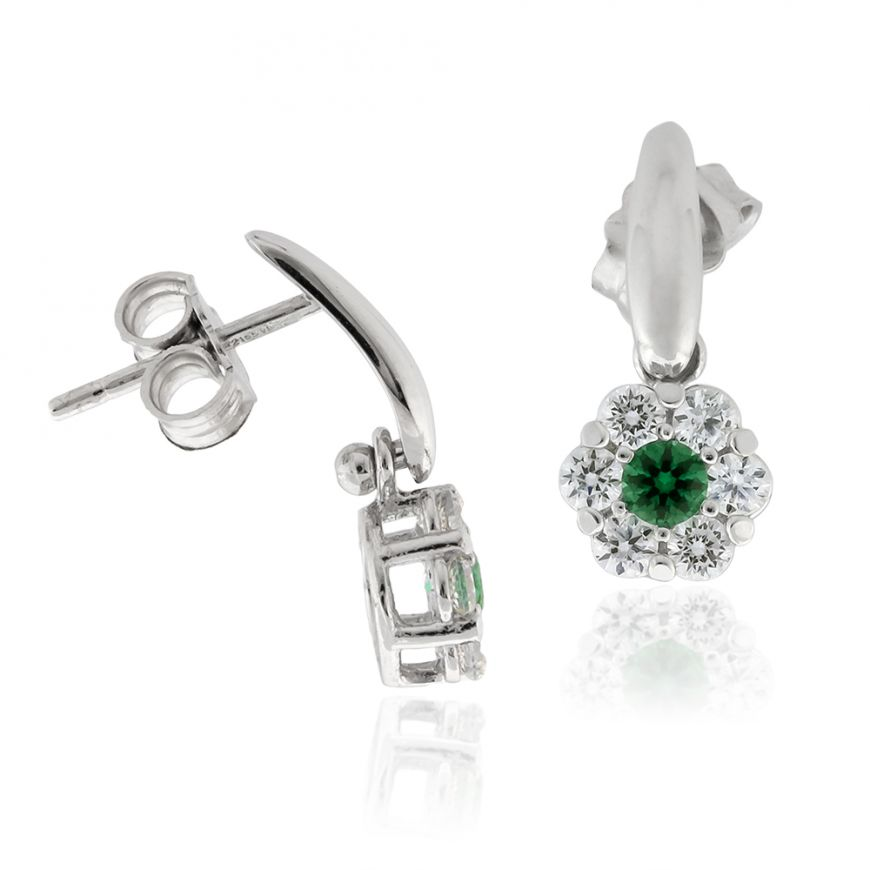 White gold earrings with white and green zircons | Gioiello Italiano
