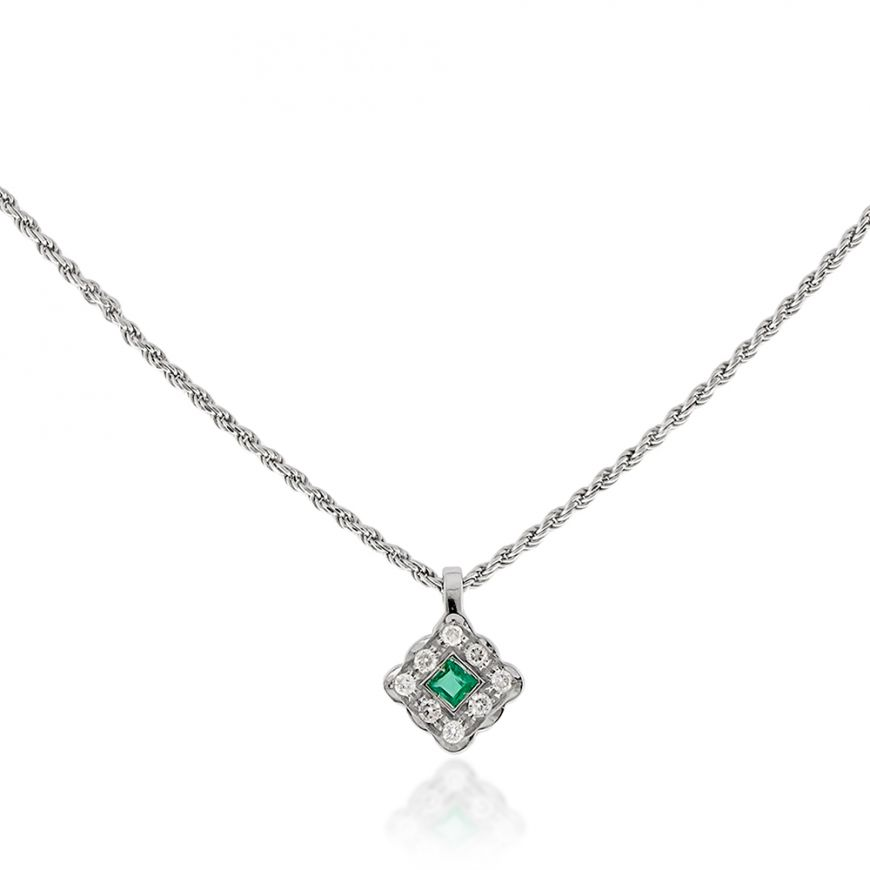 18kt white gold necklace with diamonds and emerald | Gioiello Italiano