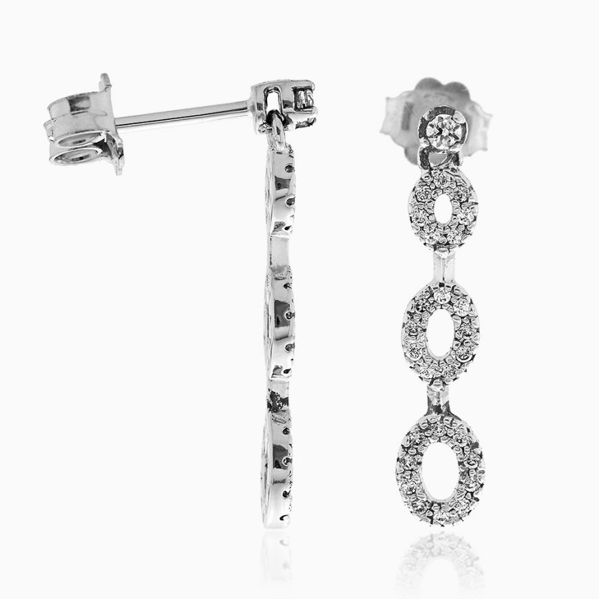 Silver oval earrings with cubic zirconia | Gioiello Italiano