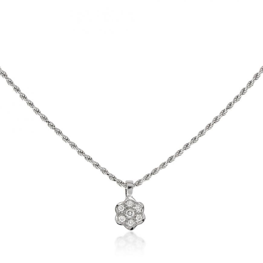 Collana in oro bianco 18kt con diamanti 0.02ct | Gioiello Italiano