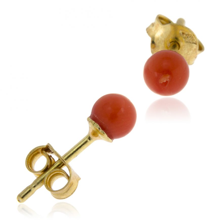 18kt yellow gold earrings with red coral  | Gioiello Italiano