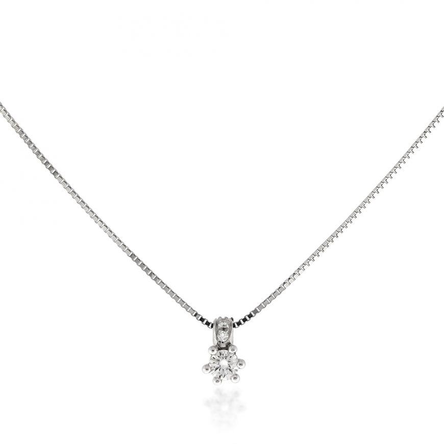 Collana in oro bianco 18kt punto luce con diamanti | Gioiello Italiano