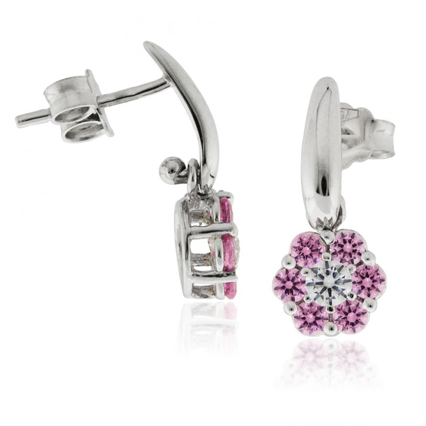 18kt white gold earrings with pink and white cubic-zirconia | Gioiello Italiano