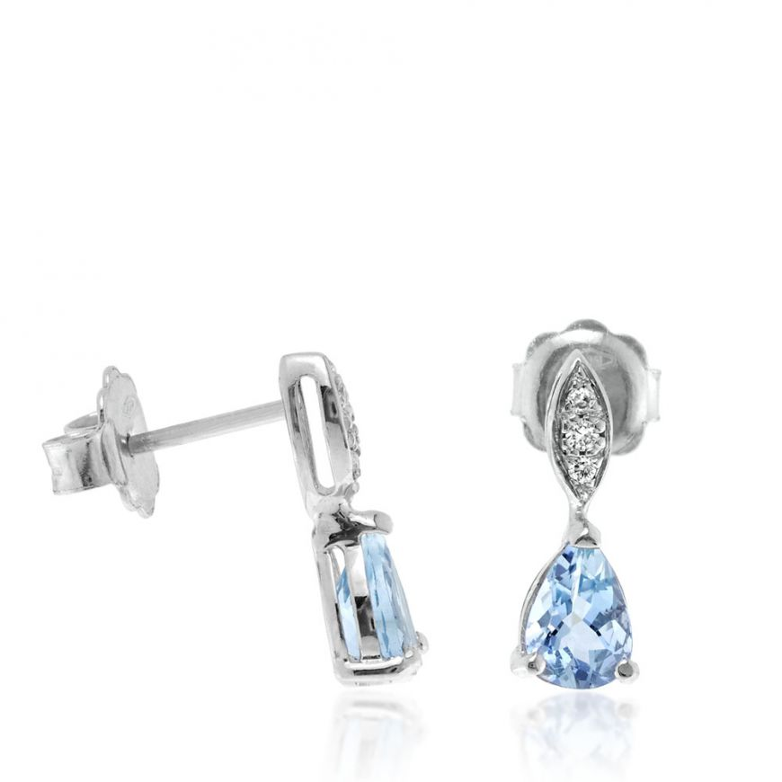 Drop-like white gold earrings with aquamarine and diamonds | Gioiello Italiano