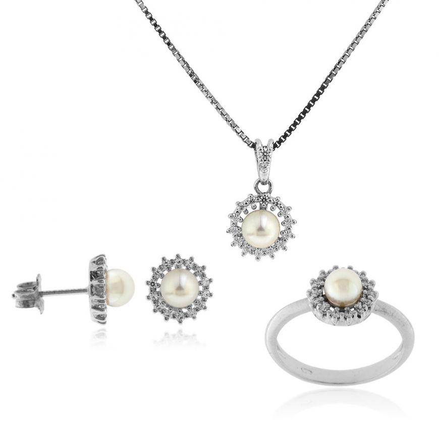Parure in argento con perle naturali e zirconi   Gioiello Italiano