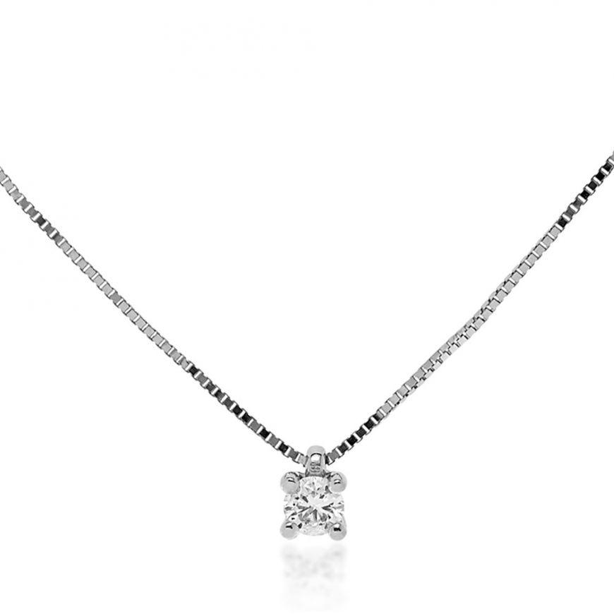 Collana punto luce in oro bianco con diamante   Gioiello Italiano