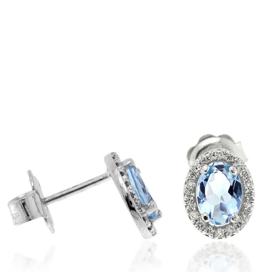 Orecchini ovali in oro bianco con diamanti e acquamarina | Gioiello Italiano