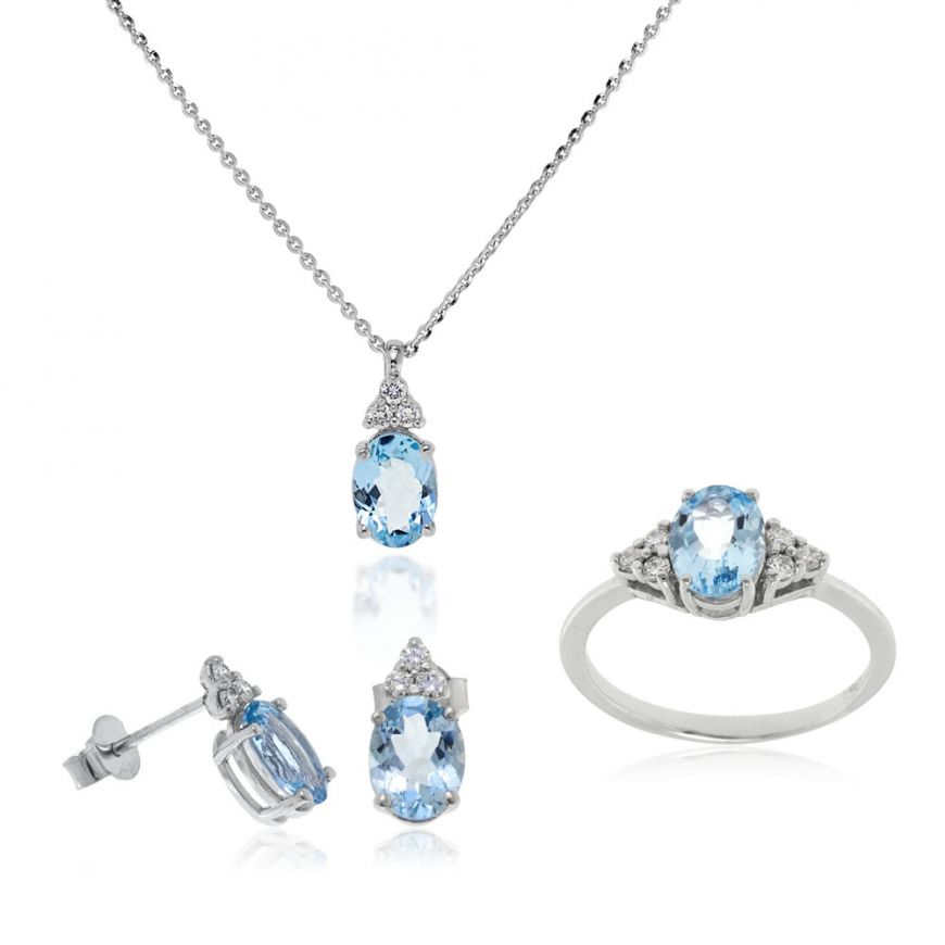 White gold set, diamonds and aquamarine | Gioiello Italiano