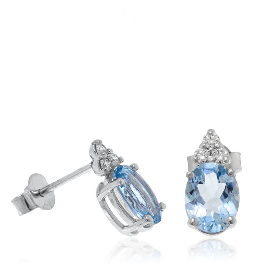 Earrings with aquamarine and three diamonds | Gioiello Italiano