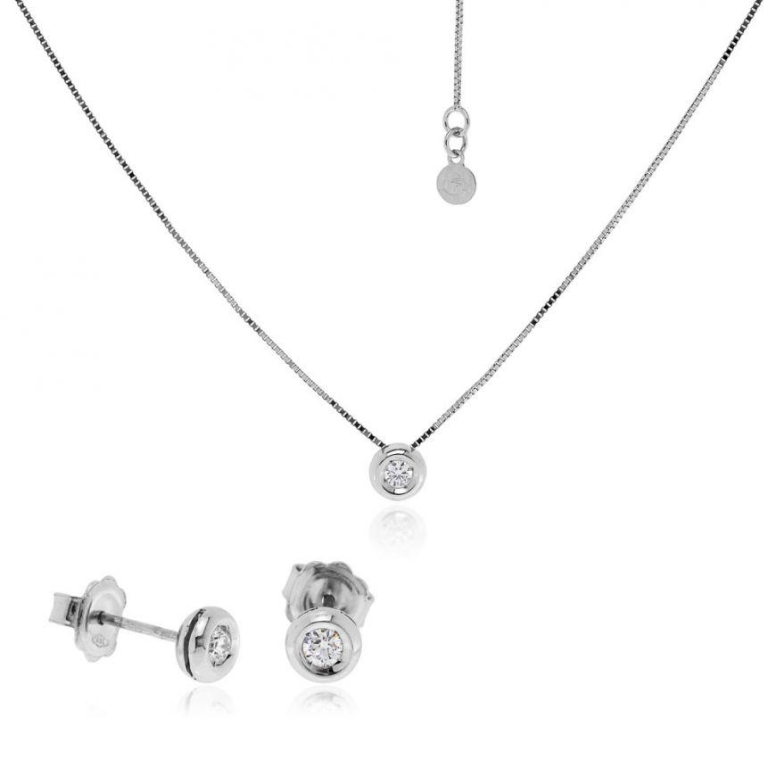 Parure punto luce in oro bianco con diamanti | Gioiello Italiano