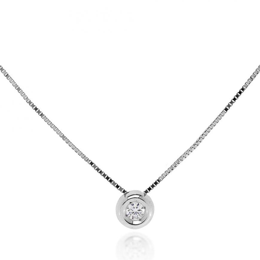 White gold necklace with diamond stone | Gioiello Italiano
