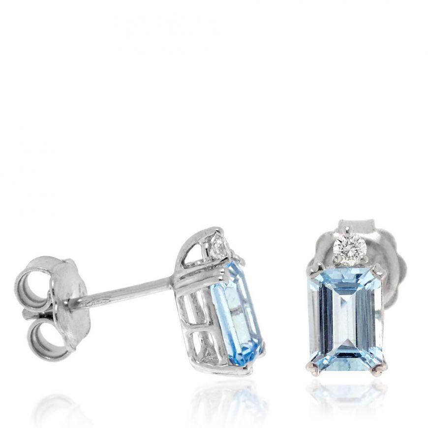 Rectangular white gold earrings with aquamarine and diamonds | Gioiello Italiano