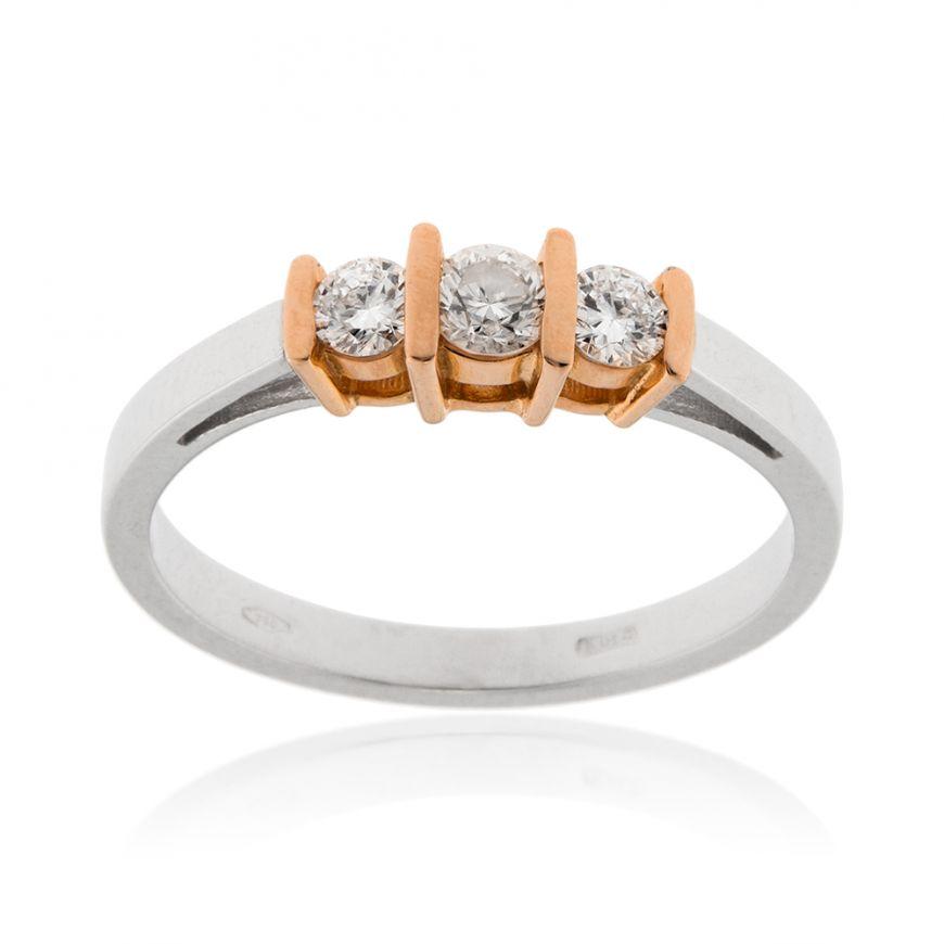 Anello trilogy in oro 18kt e diamanti 0.50ct | Gioiello Italiano